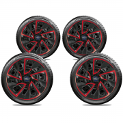JOGO C/4 CALOTA ELITTE DS4 ARO 15 RED CUP 5104 + EMBLEMA FORD RESINADO AZUL 51MM