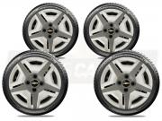 Jogo Calota Aro 13 Prata e Grafite Chevrolet Celta Corsa Classic G132ptg