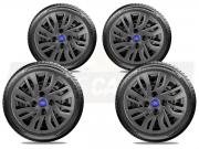 Jogo Calota Grafite Ford Fiesta Ka Aro 14 G344gftj