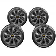 Jogo Calota Elitte Velox Preto e Grafite Aro 13 Chevrolet E3705J