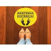 KIT C/ 10 ADESIVO MANTENHA A DISTANCIA AMARELO 30X25CM GTECH