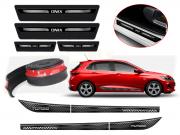 Kit Chevrolet Onix Hatch Nova Geração Friso Adesivo R-Design Cinza + Soleira Ltz + Spoiler Front Lip