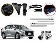 Kit Chevrolet  Onix Plus Apoio de braço + Calha De chuva  + Friso Personalizado e Parafuso anti Furto