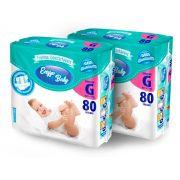 KIT DE FRALDA BABY DESCARTAVÉL INFANTIL TAMANHO G 160 UNID