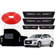 Kit Novo Onix Hatch 2020 Protetor Vermelho Soleira Tapete