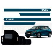 Kit Novo Onix Hatch 2020 Tapete E Friso Azul Seeker