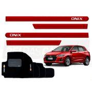 Kit Novo Onix Hatch 2020 Tapete E Friso Vermelho Carmim