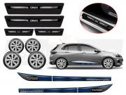Kit Onix C/4 Calota Prata Soleira Adesivo R-Design Azul