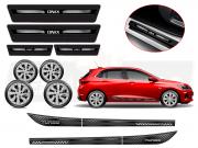 Kit Onix C/4 Calota Prata Soleira Adesivo R-Design Cinza