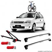 c879792b0 Suporte Para Bicicleta + Rack De Teto Wave Prata Chevrolet Corsa Hatch 2002  a 2014 Santo
