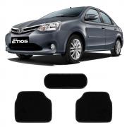 Tapete Carpete Premium 3 Peças Preto Toyota Etios 2013 A 2020