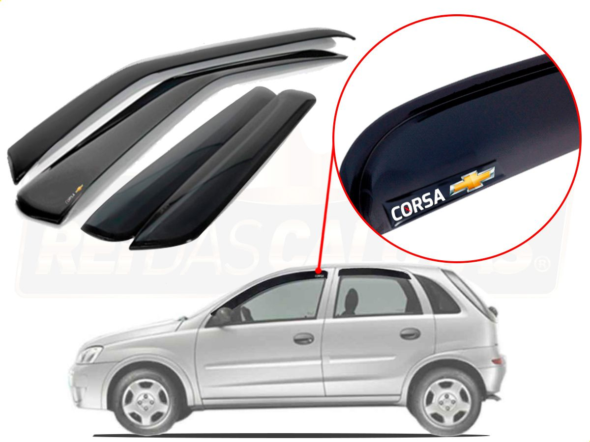 Calha De Chuva Com Escrita Em Alto Relevo Chevrolet Corsa Max 2005 a 2013