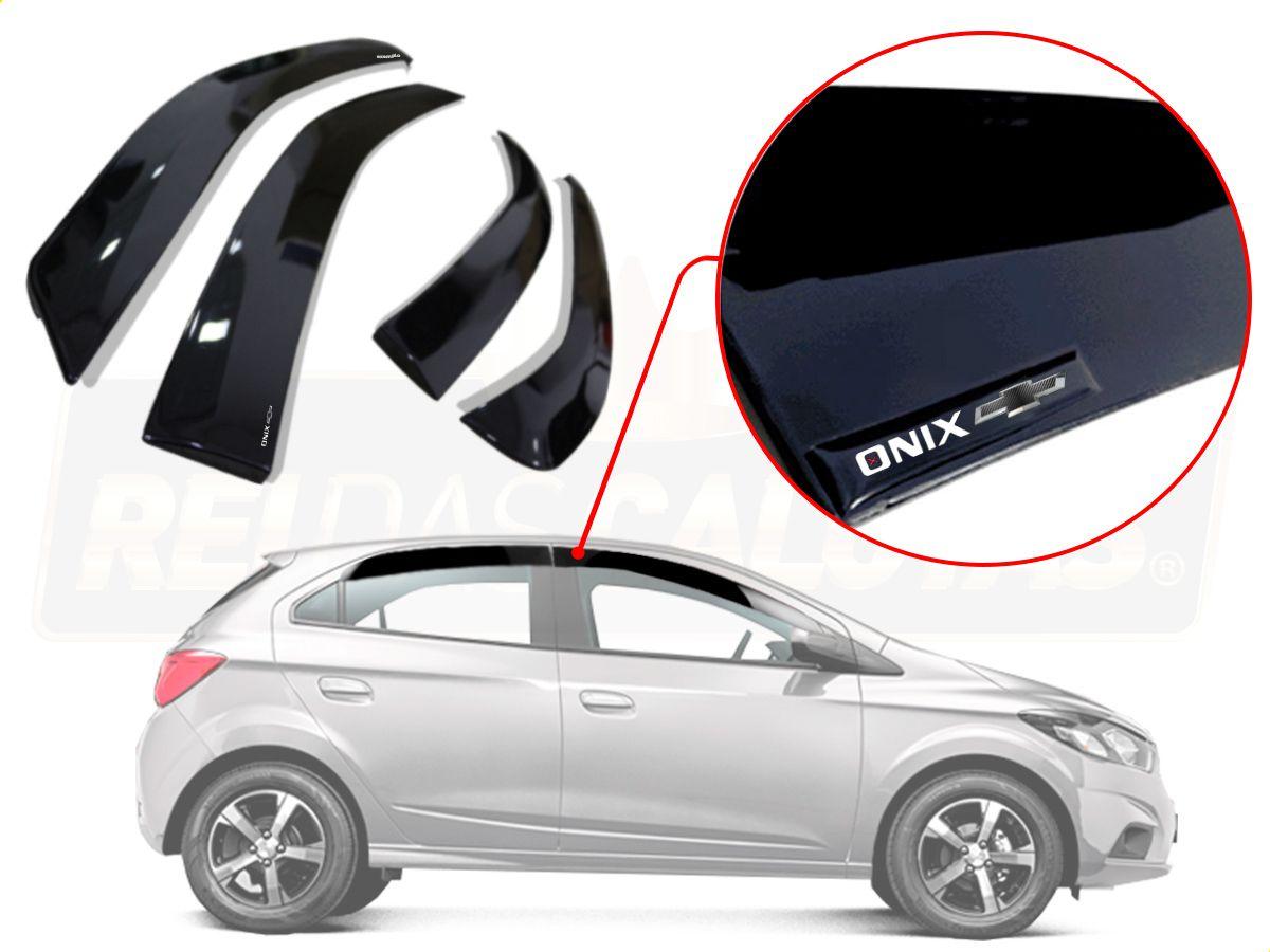 Calha De Chuva Com Escrita Em Alto Relevo Chevrolet Onix