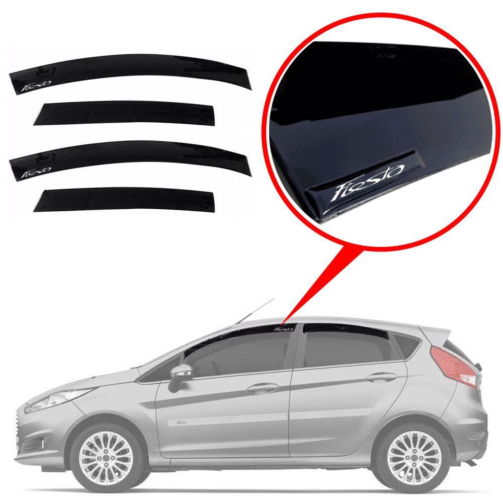Calha De Chuva Com Escrita Em Alto Relevo Ford New Fiesta Hatch 12/18
