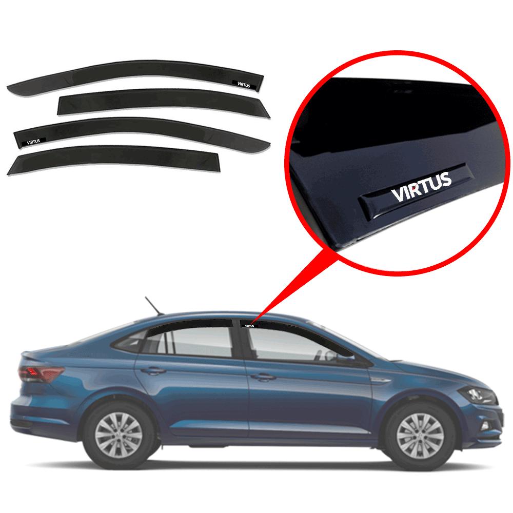 Calha De Chuva Com Escrita Em Alto Relevo Volkswagen Virtus 2019 2020  - Rei das Calotas