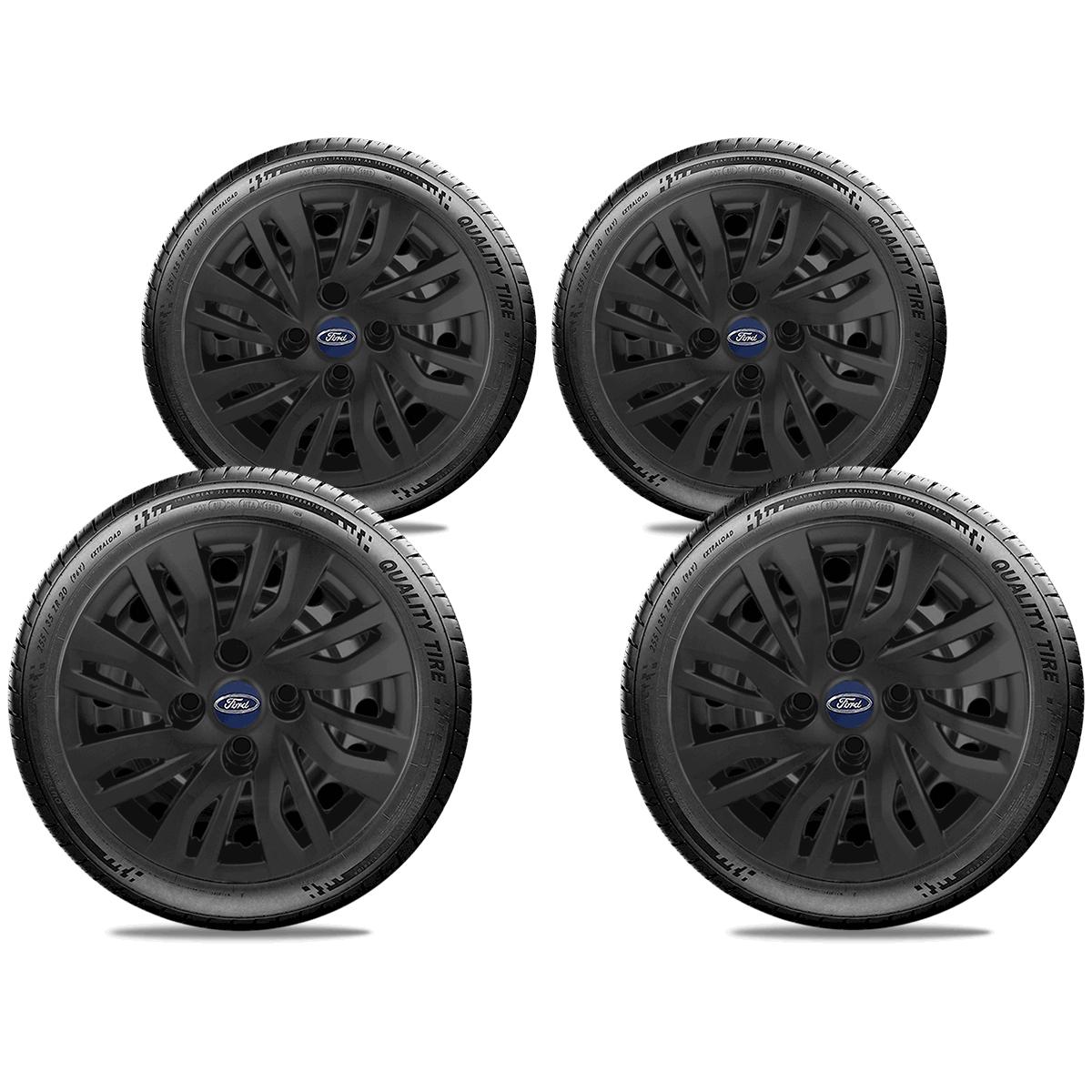 Calota Preto Fosco Jogo 4Pçs Ford Novo Ka 2017 2018 2019 2020 Aro 14 G344Pfj