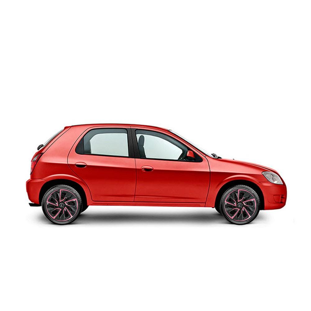 Calota Esportiva Aro 14 Elitte Universal Preta Com Rosa E4115