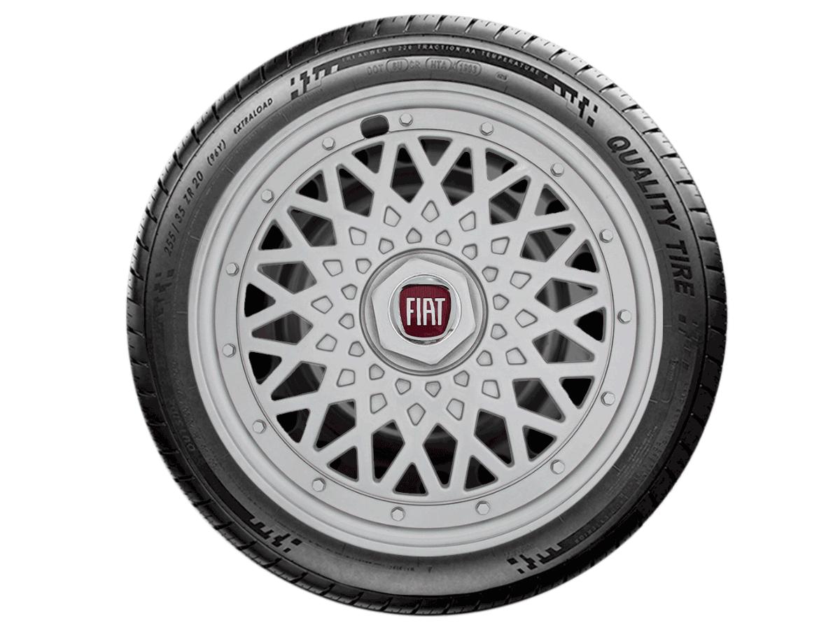 Calota Esportiva Jogo 4Pçs  BBS Prata Fiat Palio Siena Fire Aro 14 G601ptaj