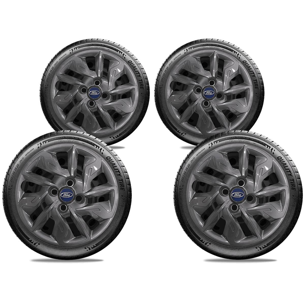 Calota Grafite Jogo 4Pçs Ford Novo Ka New Fiesta Aro 14 G292Gftj