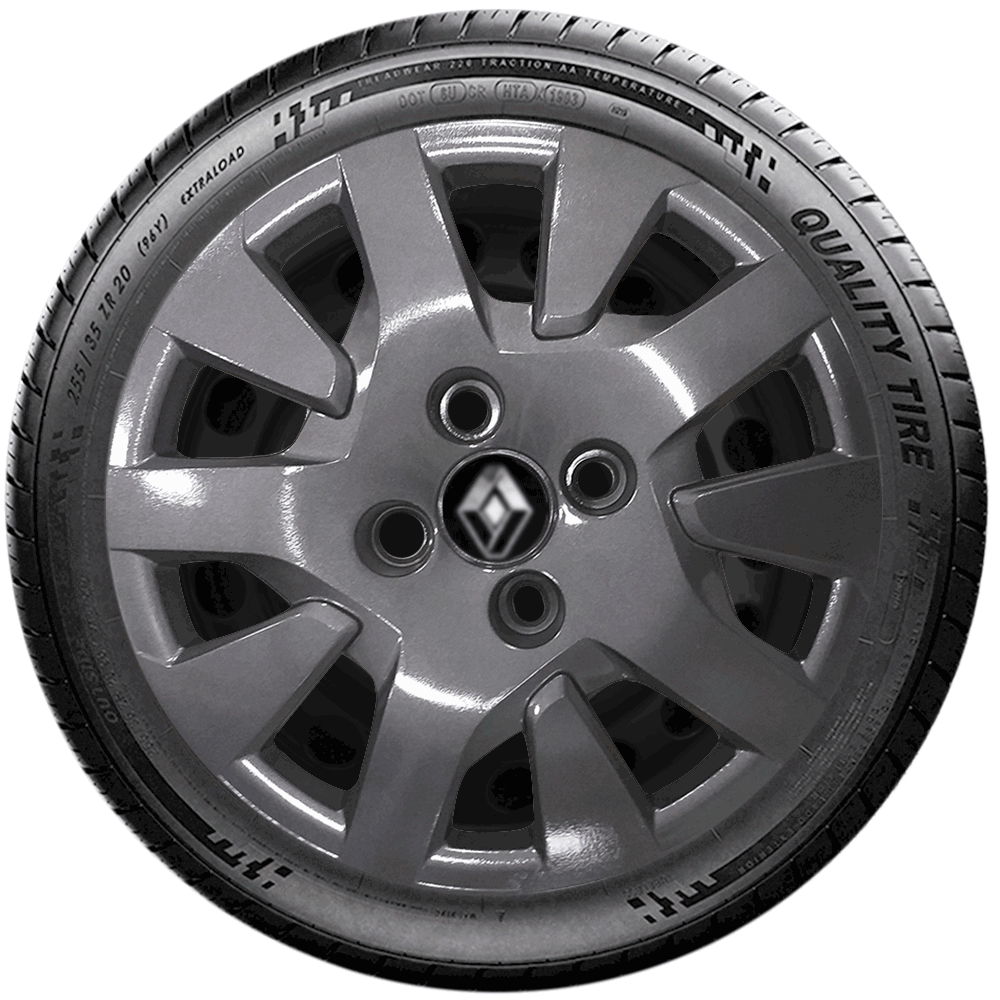 Calota Grafite Jogo 4Pçs Renault Novo Logan Sandero Aro 14 G343Gftj