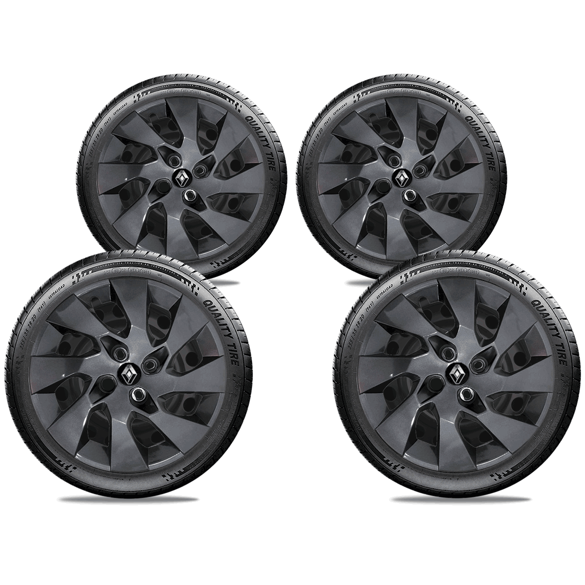 Calota Grafite Jogo 4Pçs Renault Novo Sandero 2020 Aro 15 G195Gftj
