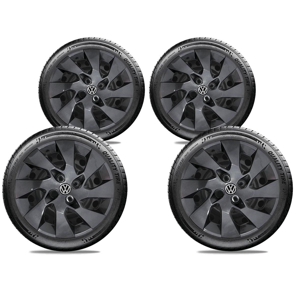 Calota Grafite Jogo 4Pçs Volkswagen Gol G3 G4 G5 G6 G7 Aro 15 G195Gftj