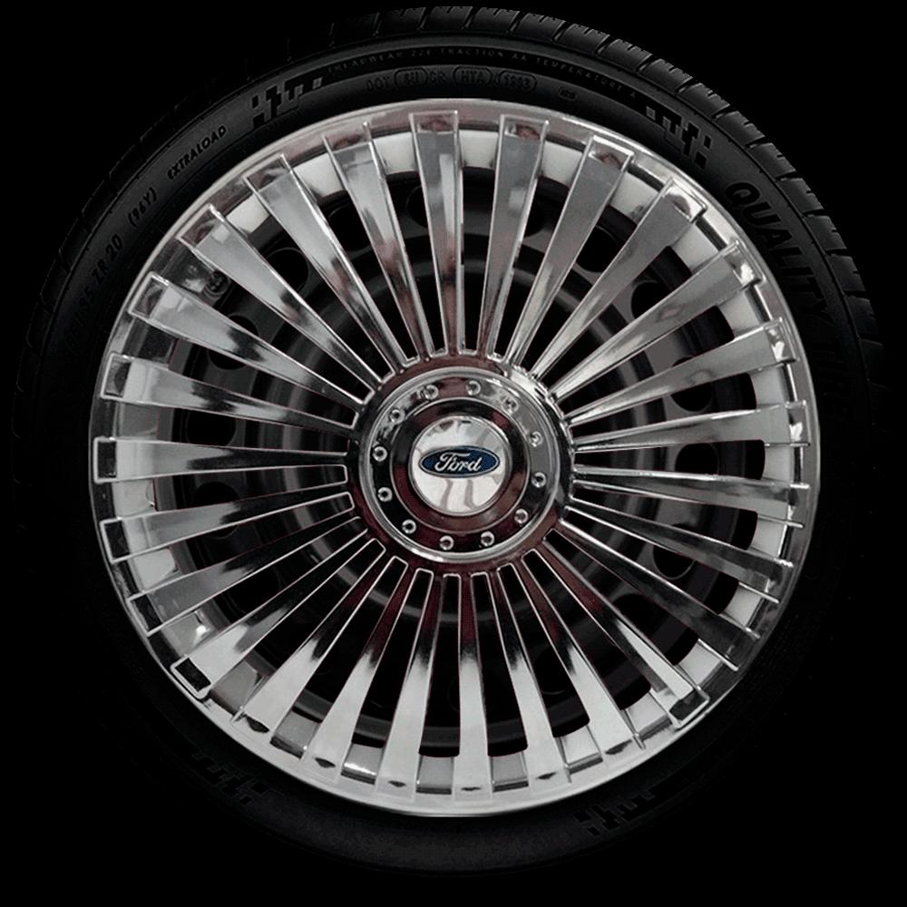 Calota Cromada Jogo 4Pçs Ford Aro 13 G075Chrj