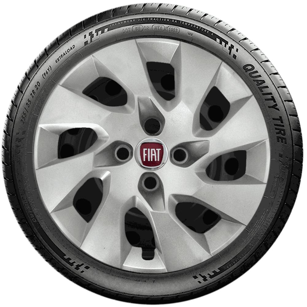 Calota Jogo 4Pçs Fiat Grand Siena Novo Palio Argo Cronos Aro 15 G195J