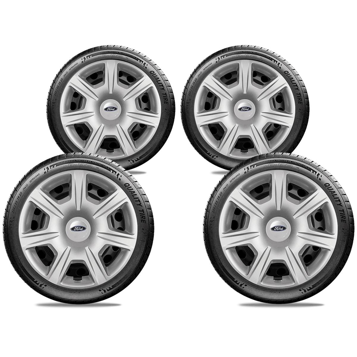 Calota Jogo 4Pçs Ford Novo Ká Fiesta Focus Aro 15 G876J