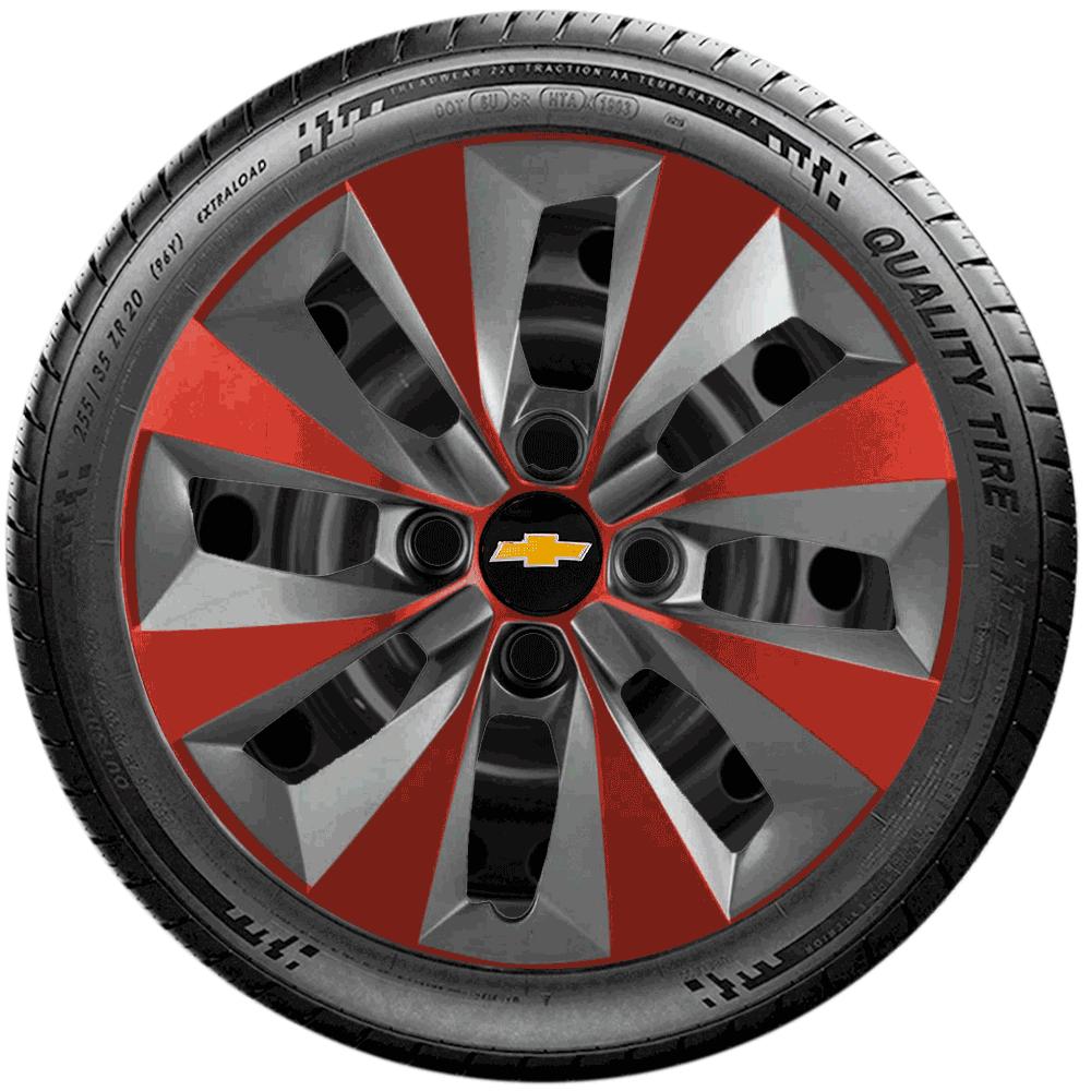 Calota Grafite Vermelho Jogo 4Pçs Chevrolet Celta Corsa Prisma Aro 14 G112Gfvj
