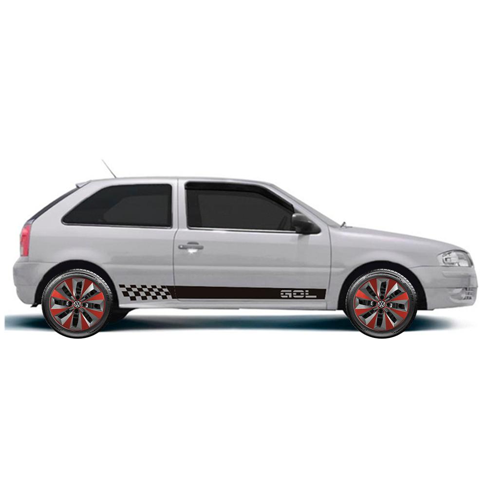 Calota Grafite Vermelho Jogo 4Pçs Volkswagen Gol Até G5 Aro 14 G112Gfvj