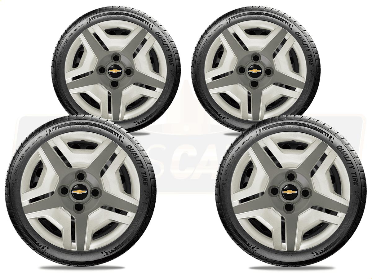 Calota Jogo 4Pçs Prata Com Grafite Chevrolet Corsa Classic Celta Prisma Aro 13 G132ptgj