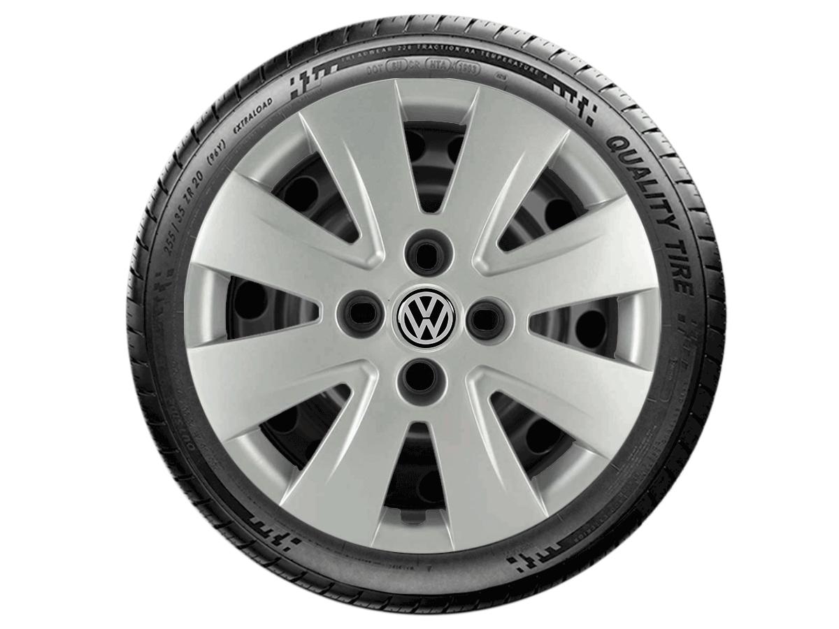 Calota  Jogo 4Pçs Prata Volkswagen Gol Voyage Saveiro Até Aro 14 G016j