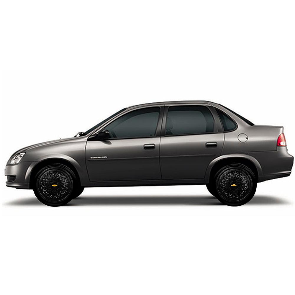 Calota Preta Jogo 4Pçs Chevrolet Aro 13 G600Pobj