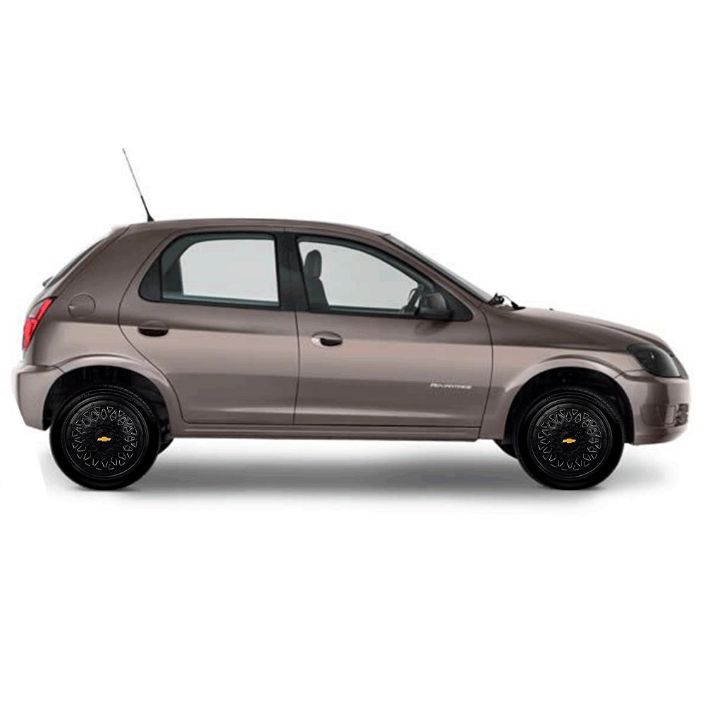 Calota Preta Jogo 4Pçs Chevrolet Aro 14 G601Pobj