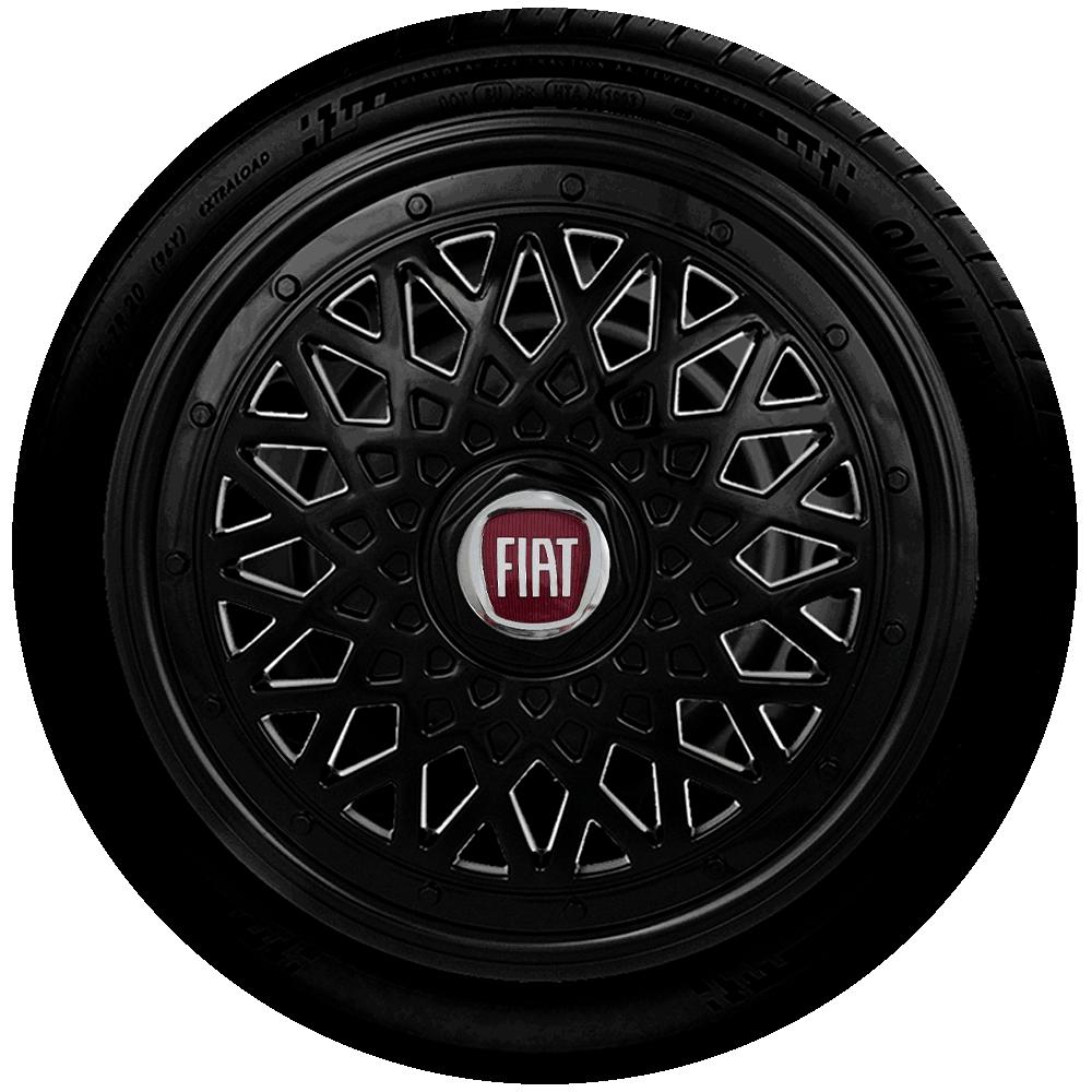 Calota Preta Jogo 4Pçs Fiat Aro 14 G601Pobj