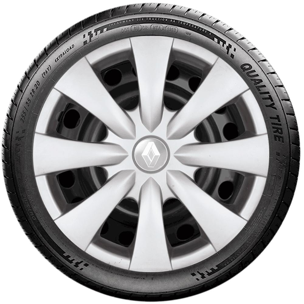 Calota Jogo 4Pçs Renault Clio Sandero Logan Aro 15 G460J
