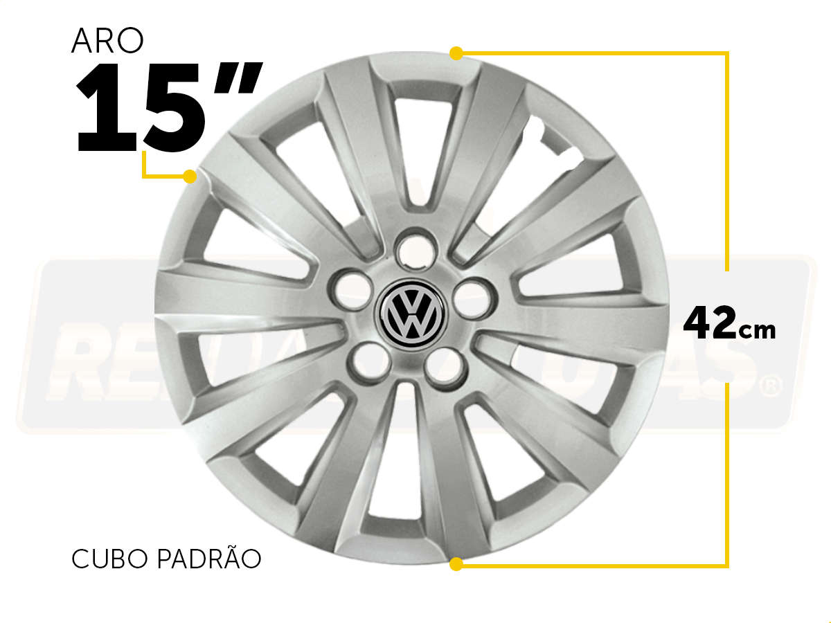 Calota Jogo 4Pçs Volkswagen Golf Polo Fox Space Fox Aro 15 G119J