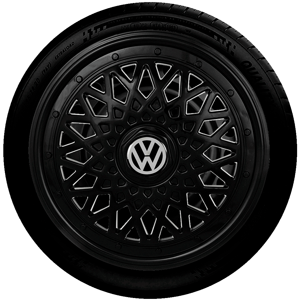 Calota Preta Jogo 4Pçs Volkswagen Preta Aro 14 G601Pobj