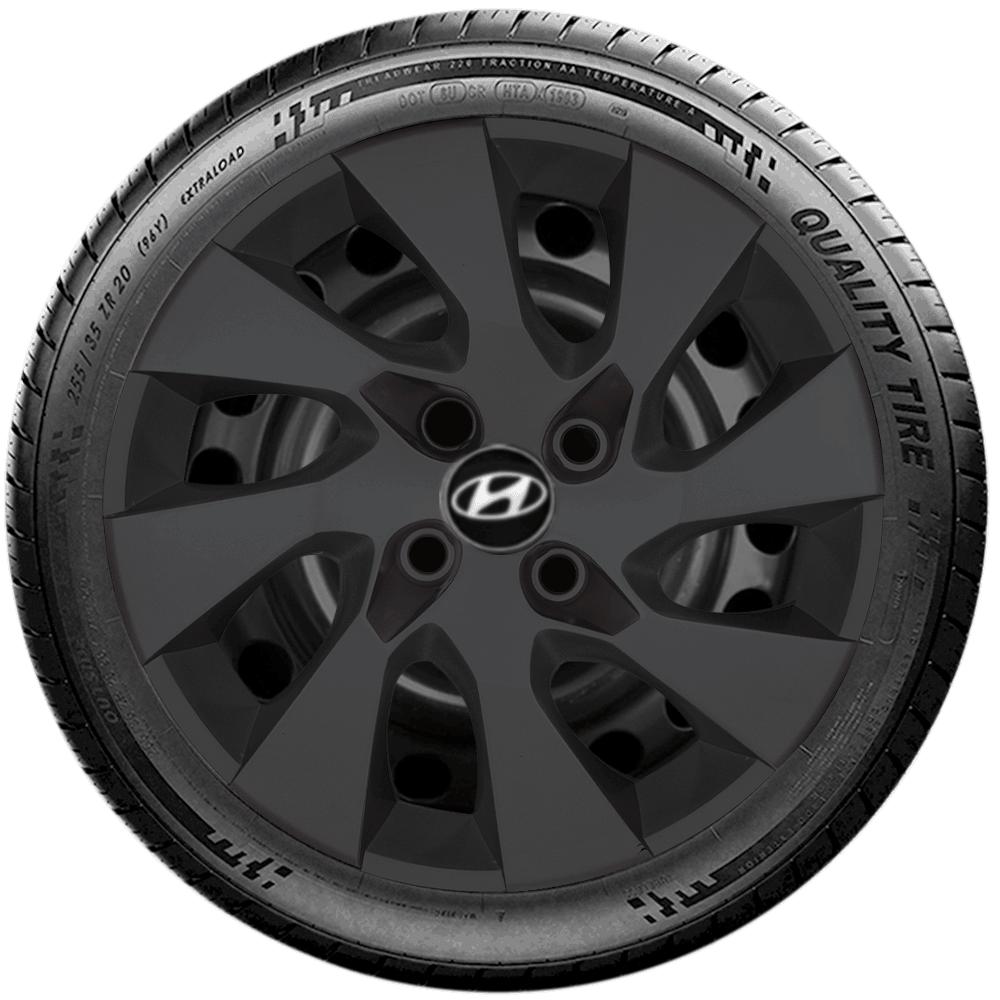 Calota Preto Fosco Jogo 4Pçs Hyundai Hb20 Hb20S 2020 Aro 14 G133Pfj
