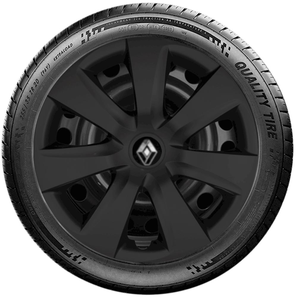 Calota Preto Fosco Jogo 4Pçs Renault Clio Novo Sandero Logan Aro 14 G461Pfj