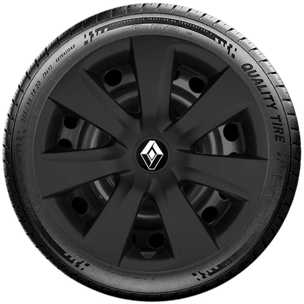 Calota Preta fosco Jogo 4Pçs Renault Kwid Zen Outsider 2019 2020 G461pfj  - Rei das Calotas