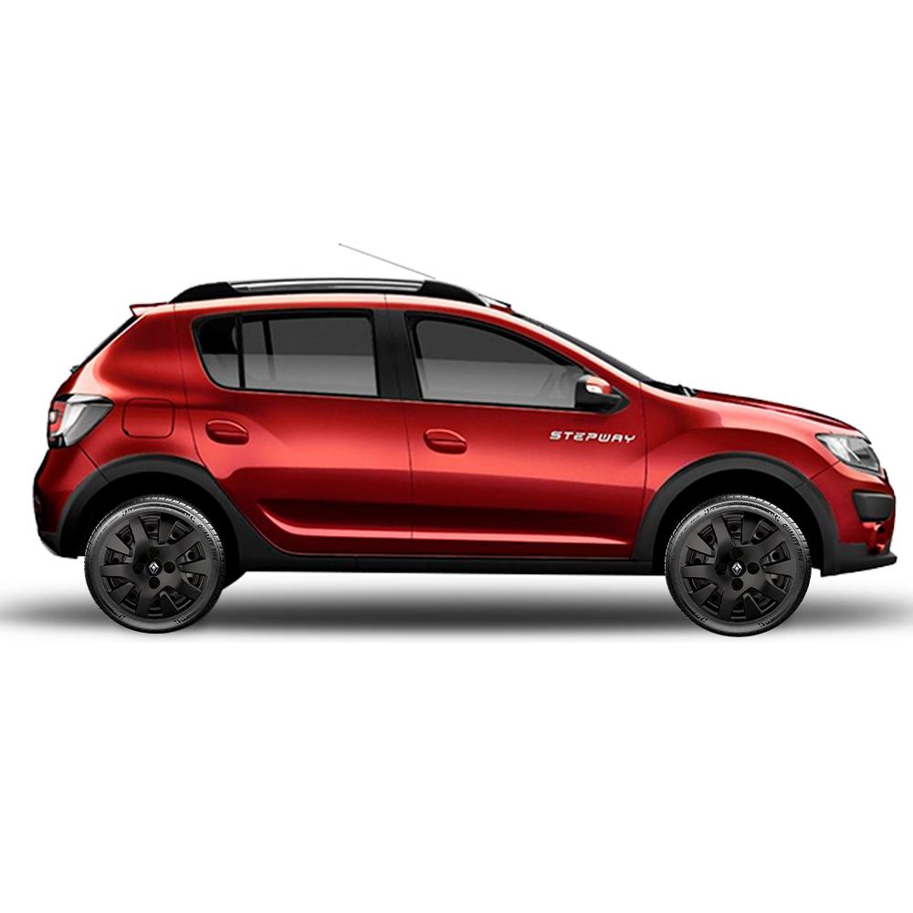 Calota Preto Fosco Jogo 4Pçs Renault Novo Sandero Logan 2020 Aro 14 G343Pfj