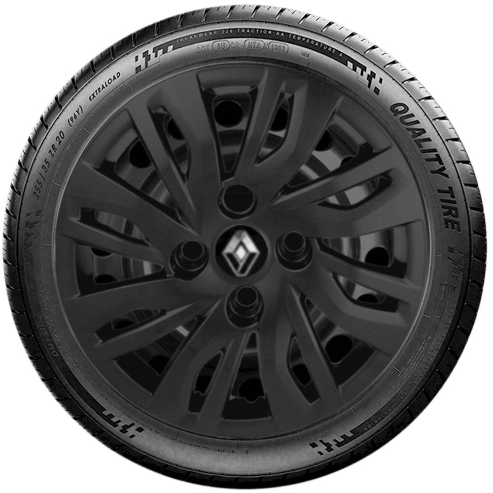 Calota Preto Fosco Jogo 4Pçs Renault Novo Sandero Logan 2020 Aro 14 G344Pfj
