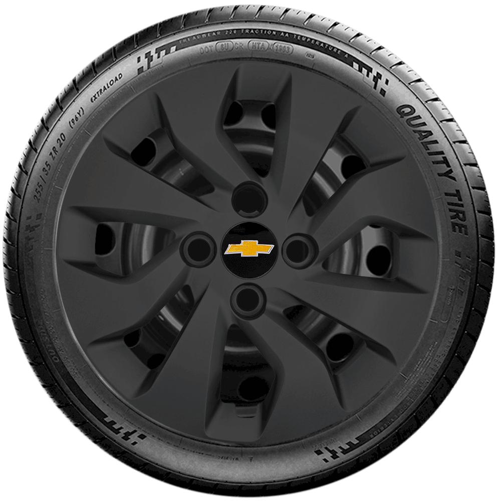 Calota Preto Fosco Jogo 4Pçs Chevrolet Onix Novo Prisma Aro 14 G373Pfj