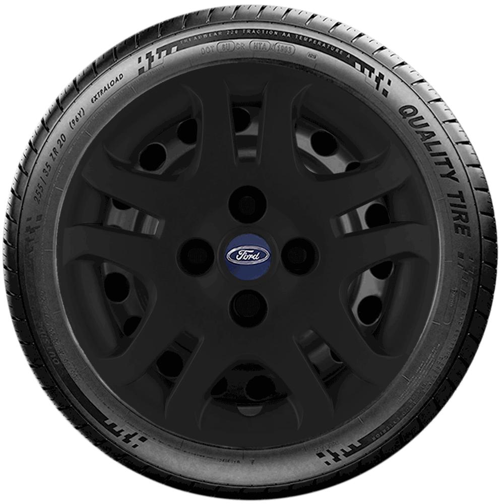 Calota Preto Fosco Jogo 4Pçs Ford Fiesta Rocam Focus Novo Ka Aro 14 G026Pfj