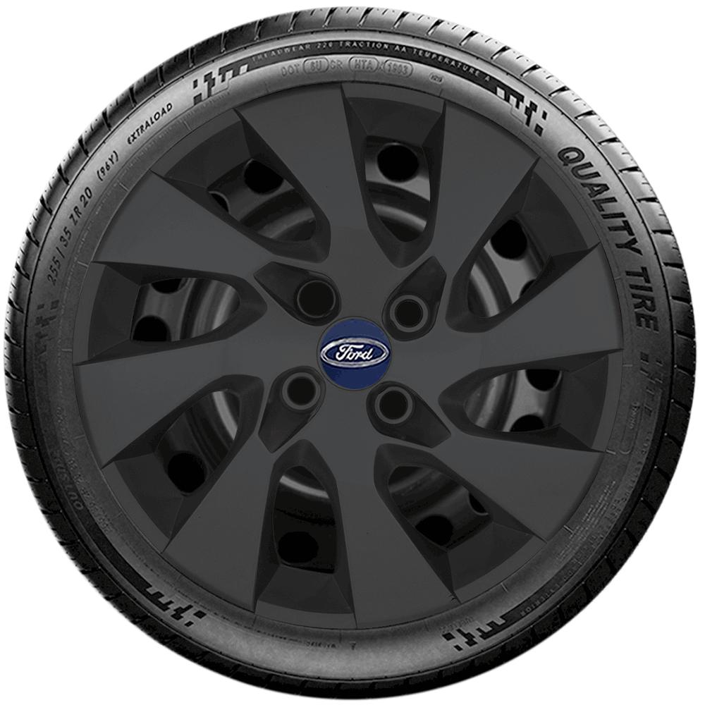 Calota Preto Fosco Jogo 4Pçs Ford Novo Ka Freestyle 2019 A 2020 Aro 15 G195Pfj