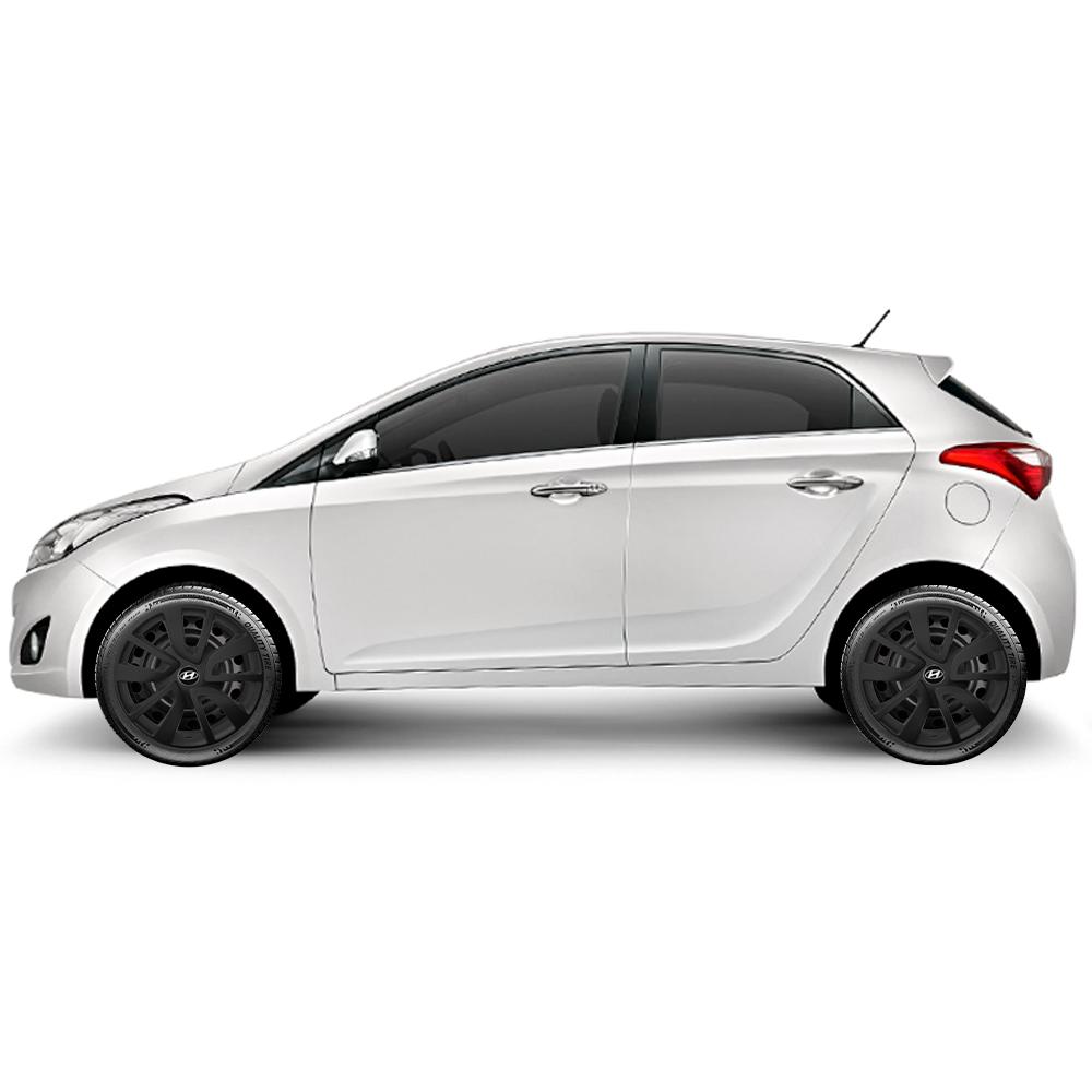 Calota Preto Fosco Jogo 4Pçs Hyundai Hb20 Hb20S 2019 2020 Aro 15 G869Pfj