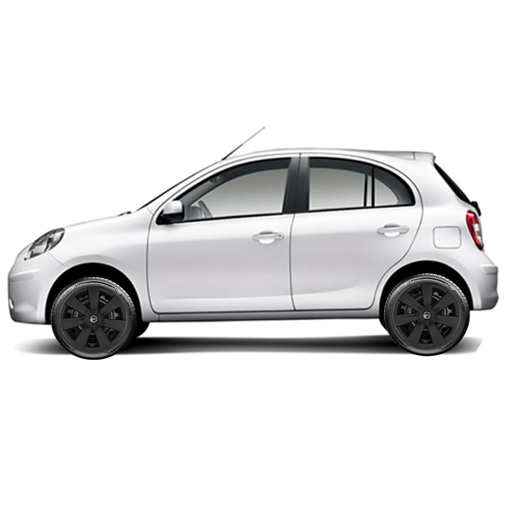 Calota Preto Fosco Jogo 4Pçs Nissan March Versa 2012 A 2019 Aro 14 G461Pfj