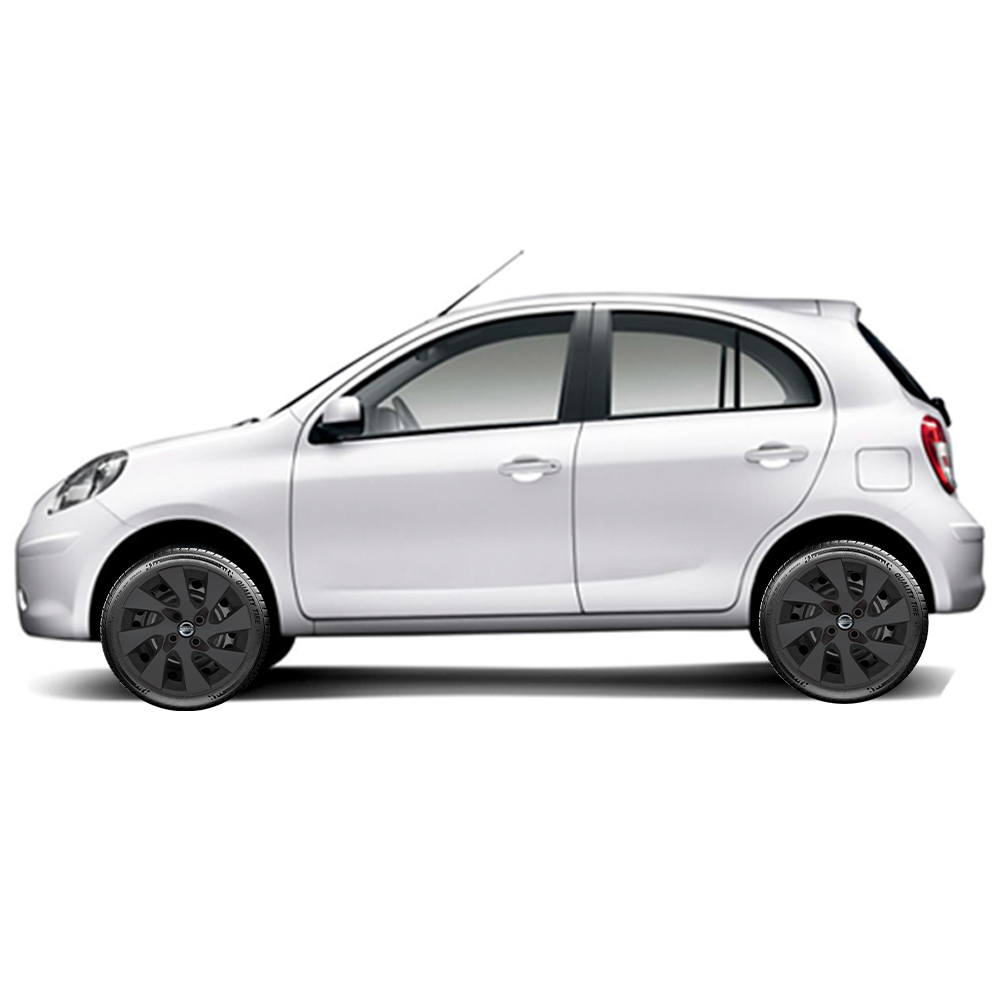 Calota Preto Fosco Jogo 4Pçs Nissan March Versa 2019 2020 Aro 15 G195Pfj